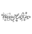 inscription on easter holiday with doodles vector image