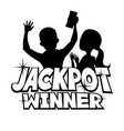 jackpot winner sign with a happy couple vector image vector image