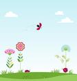 landscape clouds flowers ladybug vector image vector image