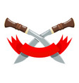 militant sign - two crossed long knives with a vector image vector image
