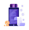 mobile payment online bill icon in flat design vector image