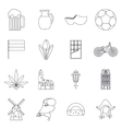 Netherlands icons set outline style vector image vector image