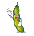 okay vegetables pod green bean in cartoon vector image