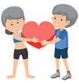 old couple holding heart vector image vector image