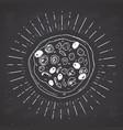 pizza vintage label hand drawn sketch grunge vector image vector image