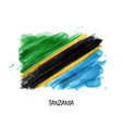 realistic watercolor painting flag of tanzania vector image vector image