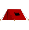 Red tent with folded window vector image vector image