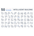 set line icons intelligent building vector image