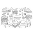 set of differen burgers and sandwiches black and vector image