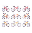 set of sport bicycles in red orange yellow vector image