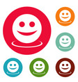 smile icons circle set vector image