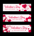 valentines day sale banner paper origami hearts vector image
