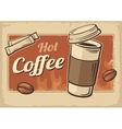 Vintage of hot coffee cup vector image vector image