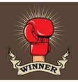 Winner Human hand in boxing glove Design element vector image vector image