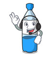with headphone water bottle mascot cartoon vector image
