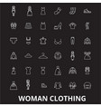 woman clothing editable line icons set on vector image vector image