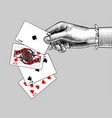 womans hand with playing cards fan vintage vector image vector image
