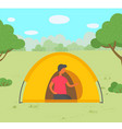 young man in tent camping in forest vector image vector image