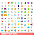 100 solution icons set cartoon style vector image vector image