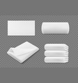 3d realistic white towel rolls and piles vector image vector image