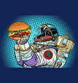 astronaut monster eats burger greed and hunger of vector image vector image