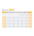 august calendar planner 2019 in clean minimal vector image