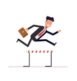 Businessman or manager runs on obstacle course vector image