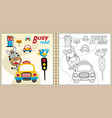 cartoon of coloring book or page with funny vector image