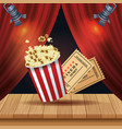 cinema entertainment with pop corn and tickets vector image vector image