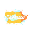 colored hello summer abstract logo on white vector image vector image