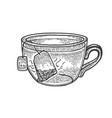 cup tea with tea bag sketch engraving vector image