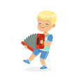 cute little boy playing accordion young musician vector image vector image
