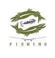 design template of vintage fishing emblem vector image vector image