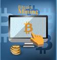 digital bitcoin mining monitor screen vector image
