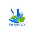 eco pharmacy glossy shine logo template with vector image vector image
