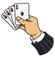 four aces in hand vector image vector image