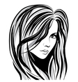 girl sketch face vector image vector image