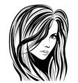 girl sketch face vector image