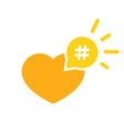 hashtag icon like heart - smm promotion and share vector image vector image