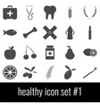 healthy icon set 1 gray icons on white vector image