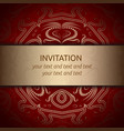 invitation card in red with golden ribbon vector image vector image