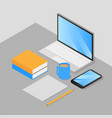 isometric work place vector image