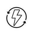 Line energy hazard symbol with arrows around vector image
