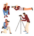 man photographing taking photo camera vector image vector image