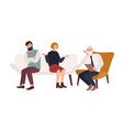 married couple on sofa and elderly psychologist vector image vector image
