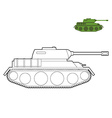 Military Tank coloring book Fighting technique in vector image vector image