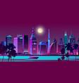 modern city on seashore night landscape vector image