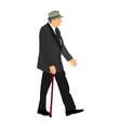 old man gentleman with hat and stick elder senior vector image vector image