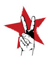 peace or victory hand gesture in front of red star vector image vector image