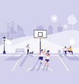 people practicing sport in basketball field vector image